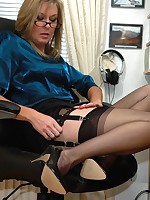 office boss flashes nylons and more - Granny Lingerie