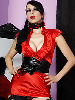 slutty red satin dress, stockings and naughty panties - Girdles Granny