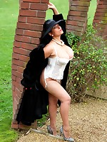 Danica Collins takes a walk and a wank in the garden - Girdles Granny