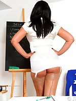 School Mistress Danica knows how to control an unruly class - Girdles Granny