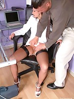 leggy clothed sex in the office - Vintage Milfs