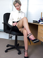 Office glamor girl Elle Richie in satin lingerie does everything to make her.. - Moms Lingerie