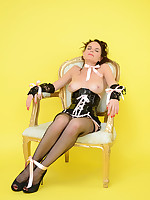 Naughty Chair plays saucy game with shy Mia. Will she avoid embarrassment? - Moms Lingerie